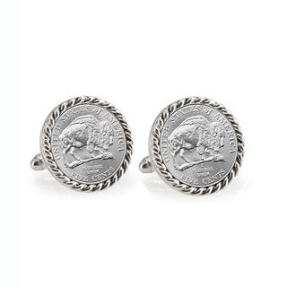 American Coin Treasures 2005 Bison Nickel Silvertone Rope Bezel Cuff Links