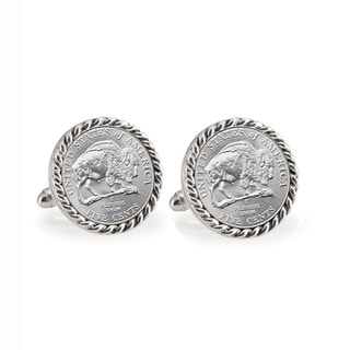 Link to American Coin Treasures 2005 Bison Nickel Silvertone Rope Bezel Cuff Links Similar Items in Men's Jewelry