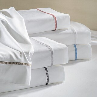 Links Embroidered Long Staple Cotton Sateen 300 Thread Count Sheet Set