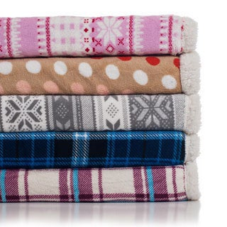 Windsor Home Printed Sherpa-backed Throws (Set of 2)