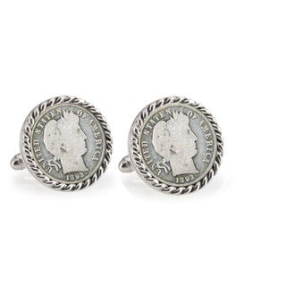 American Coin Treasures Silver 1800's Barber Dime Silvertone Rope Bezel Cuff Links