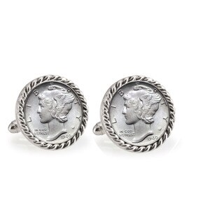 American Coin Treasures Silver Mercury Dime Silvertone Rope Bezel Cuff Links