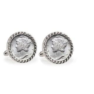 American Coin Treasures Silver Mercury Dime Silvertone Rope Bezel Cuff Links