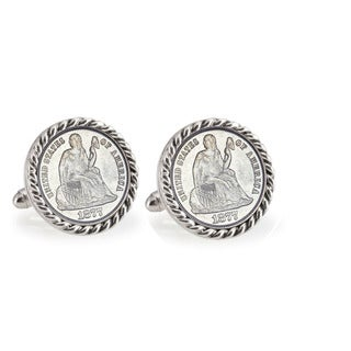 American Coin Treasures Silver Seated Liberty Dime Silvertone Rope Bezel Cuff Links