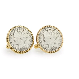 American Coin Treasures 1883 First-Year-of-Issue Liberty Nickel Goldtone Rope Bezel Cuff Links