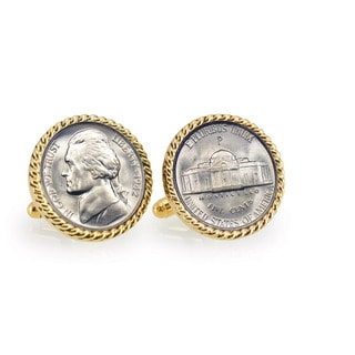 American Coin Treasures Silver Jefferson Nickel Wartime Nickel Goldtone Rope Bezel Cuff Links
