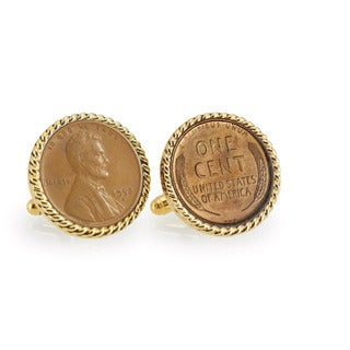 American Coin Treasures Lincoln Wheat-Ear Penny Cuff Goldtone Rope Cuff Links