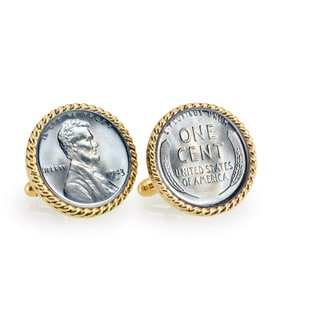 American Coin Treasures 1943 Lincoln Steel Penny Goldtone Rope Cuff Links
