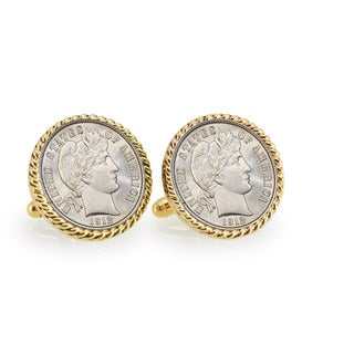 American Coin Treasures Silver Barber Dime Goldtone Rope Cuff Links