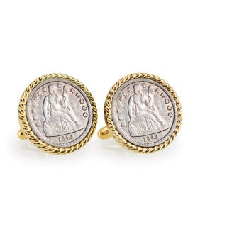 American Coin Treasures Seated Liberty Silver Dime Goldtone Rope Cuff Links
