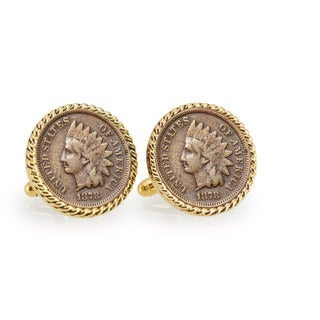 American Coin Treasures 1800s Indian Head Penny Goldtone Rope Bezel Cuff Links