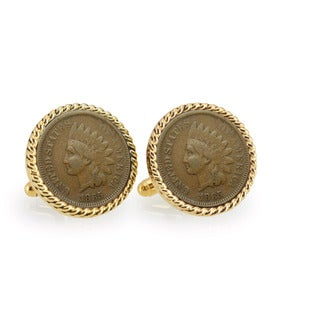American Coin Treasures Civil War Indian Head Penny Goldtone Rope Bezel Cuff Links