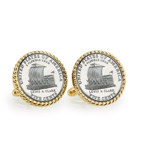 American Coin Treasures 2004 Keelboat Goldtone Rope Cuff Links