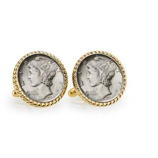 American Coin Treasures Silver Mercury Dime Goldtone Rope Cuff Links