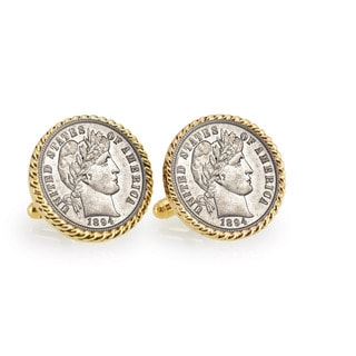 American Coin Treasures 1800's Silver Barber Dime Goldtone Rope Cuff Links