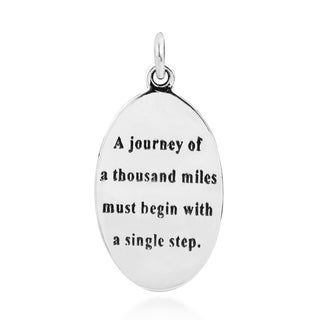Inspirational Lao Tzu Quote .925 Silver Pendant (Thailand)