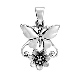 Handmade Exotic Butterfly and Flower Duo Sterling Silver Pendant (Thailand)