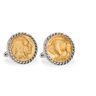 American Coin Treasures Gold-Plated Buffalo Nickel Silvertone Rope Cuff Links