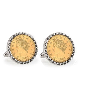 American Coin Treasures Gold-Plated Liberty Nickel Silvertone Rope Cuff Links
