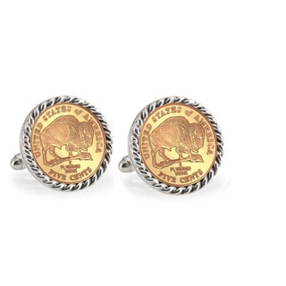 American Coin Treasures Gold-Plated 2005 Bison Nickel Silvertone Rope Cuff Links