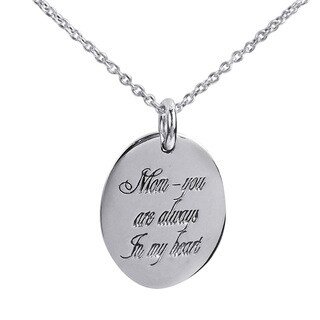 Handmade 'Mom, You Are Always In My Heart' .925 Silver Pendant (Thailand)
