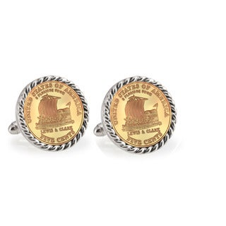 American Coin Treasures Gold-Plated 2004 Keelboat Silvertone Rope Cuff Links