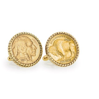 American Coin Treasures Gold-Plated Buffalo Nickel Goldtone Rope Bezel Links