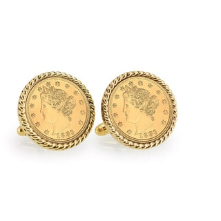 American Coin Treasures Gold-Plated Liberty Nickel Goldtone Rope Cuff Links