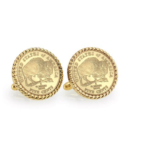American Coin Treasures Gold-Plated 2005 Bison Nickel Goldtone Rope Cuff Links