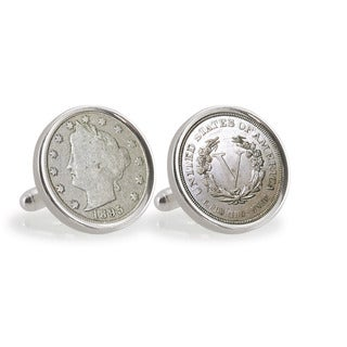 American Coin Treasures 1800s Liberty Nickel Sterling Silver Cuff Links