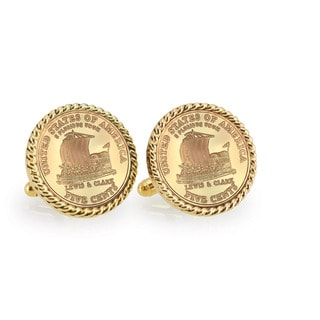 American Coin Treasures Gold-Plated 2004 Keelboat Goldtone Rope Cuff Links