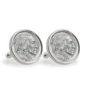 American Coin Treasures 1913 First-Year-of-Issue Buffalo Nickel Sterling Silver Cuff Links
