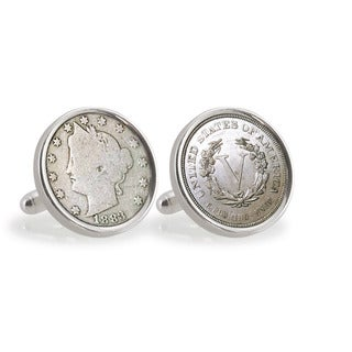 American Coin Treasures 1883 First-Year-of-Issue Liberty Nickel Sterling Silver Cuff Links
