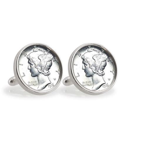 American Coin Treasures Silver Mercury Dime Sterling Silver Cuff Links