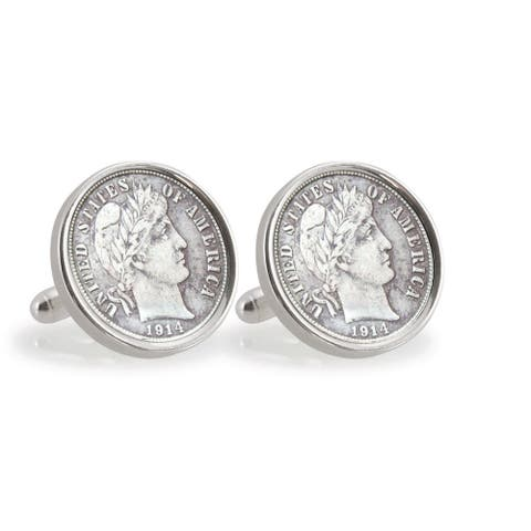 American Coin Treasures Silver Barber Dime Sterling Silver Cuff Links