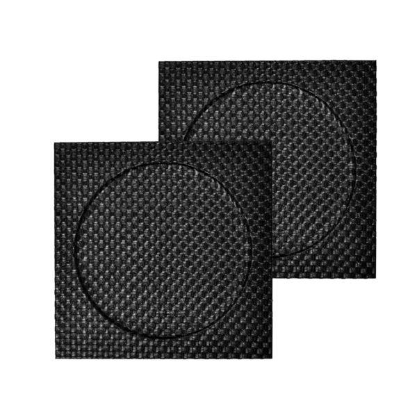 Faux Leather 2-piece Black Weave Square Charger Set
