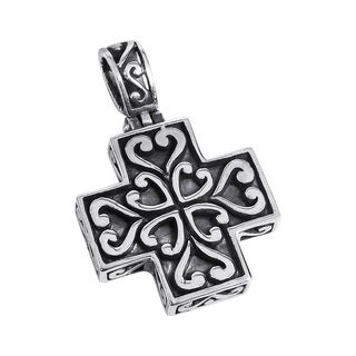 Beautiful Heart Greek Cross .925 Silver Pendant (Thailand)
