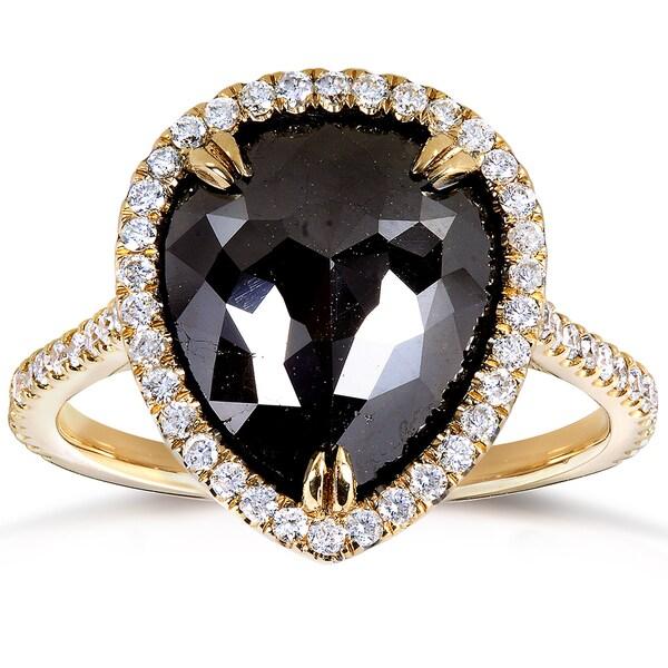 Annello by Kobelli 14k Yellow Gold 3 4/5ct TDW Black Diamond Pear Shape Ring (H-I, I1-I2)