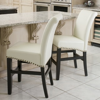 Louigi Ivory Leather Counter Stools (Set of 2) by Christopher Knight Home