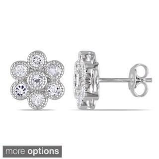M by Miadora Silver 1ct TGW White Topaz Flower Earrings