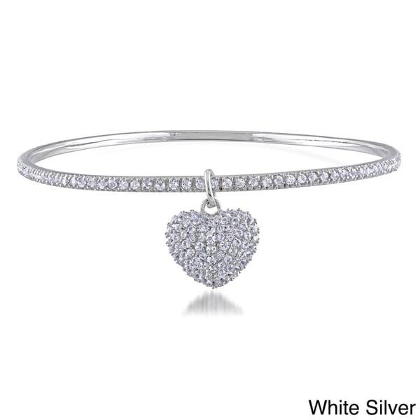 Miadora Silver 6 1/3ct TGW White Topaz Bangle with Heart Charm