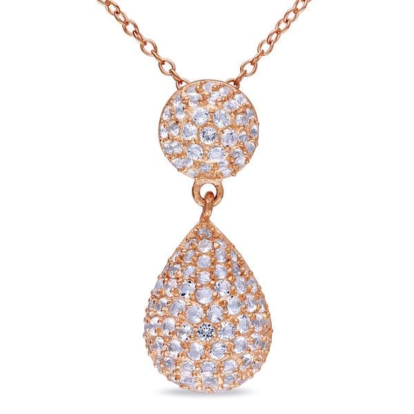 Miadora Rose Plated Silver White Topaz Drop Necklace