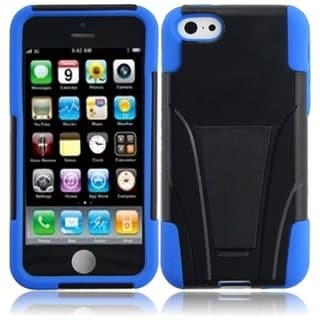 INSTEN Black/ Blue T-stand Dual Layer Hybrid PC/ Soft Silicone Phone Case Cover with Stand for Apple iPho