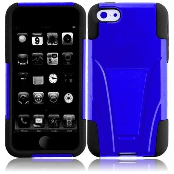 INSTEN Blue/ Black T-stand Dual Layer Hybrid PC/ Soft Silicone Phone Case Cover with Stand for Apple iPhone 5C/ 5S