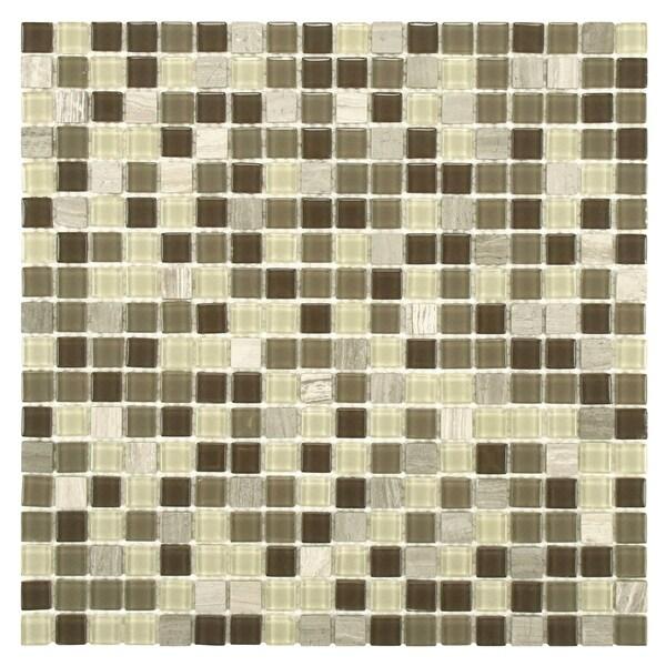 SomerTile 11.75x11.75-inch View Mini Aegis Glass and Stone Mosaic Wall Tile (16 tiles/15.67 sqft.)
