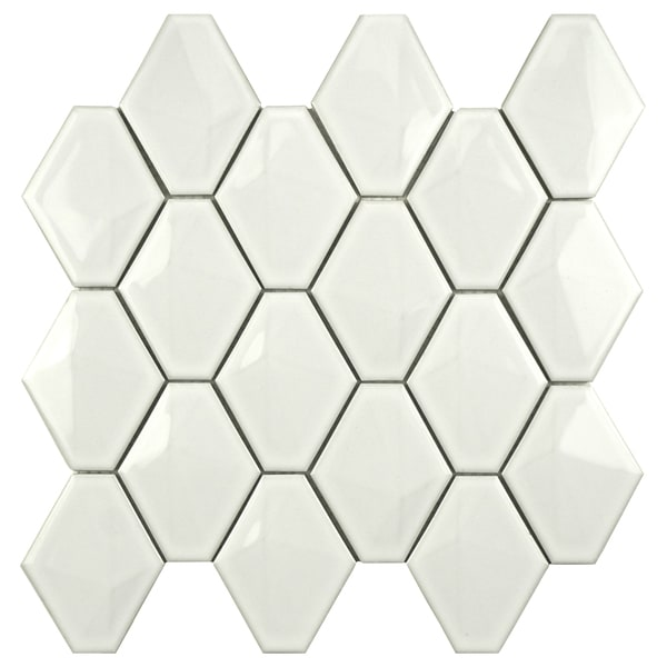 SomerTile Chevron 10.5x11 Glossy White Porcelain Mosaic Wall Tile (Pack of 10)