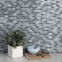 SomerTile 11.25x11.75-inch View Mini Subway Fortress Glass and Stone Mosaic Wall Tile (16 tiles/14.72 sqft.)