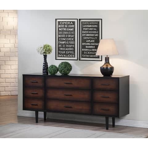 Carson Carrington Preston 9-drawer Cherry/ Black Mid-century Style Dresser