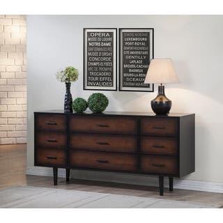 Preston 9 Drawer Cherry Black Mid Century Style Dresser