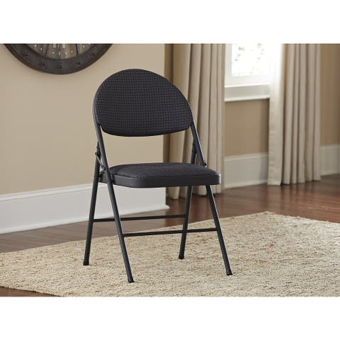 COSCO XL Comfort Premium Fabric Padded Metal Folding Chair (Pack of 4)